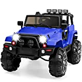 Best Choice Products Kids 12V Ride On Truck w/ Remote Control, 3 Speeds, LED Lights, Wireless Media Pairing - Blue