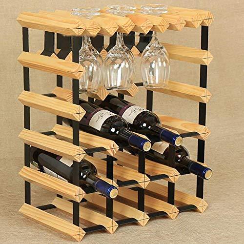 JPL Estante para vino casero, Estante decorativo para vino, Estante para vino para decoración de restaurante, Estante para vino Estante de vajilla de suspensión de madera maciza Soporte al revés Sopo