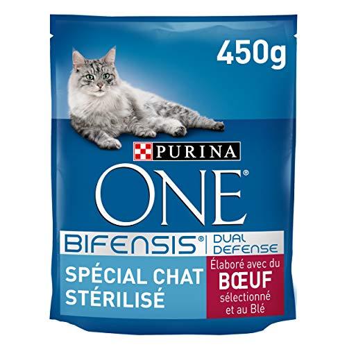 One Chat Spécial Chat Stérilisé Bœuf et Blé, 450g - Lot de 10