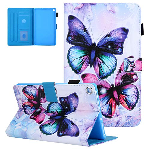 UGOcase Smart Case for Amazon Kindle Fire HD 8 Tablet 2018/2017/2016 with Pencil Holder, Slim PU Leather Folio Stand Magnetic Wallet Cover with Auto Sleep/Wake Multi-Angle Viewing, Butterflies