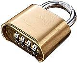 QRYY 防水の細長い真ちゅう製のフックロック、4桁の大きなパスワードコードロックコード、パスワード下部の銅製南京錠、リセット可能な組み合わせ南京錠(サイズ:通常のロックフック)