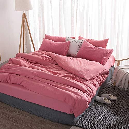 BH-JJSMGS Leichter Bettbezug aus Mikrofaser mit Reißverschluss, Leichter Bettwäsche, weicher, atmungsaktiver, vierteiliger Bettwäschebezug, 180 * 220 cm pink