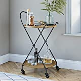 Nathan James Sage Retro Mid-Century Round Rolling Bar Serving Cart with 2-Tier Trays and Powder Coated Metal Finish, Warm Walnut/Black