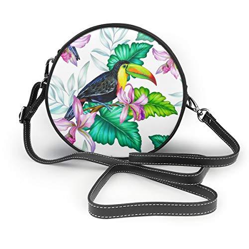 Wrution Toucan Exotische Toukan mit Blumenstrauß, rund, mit Reißverschluss, Schultertasche, weiches Leder
