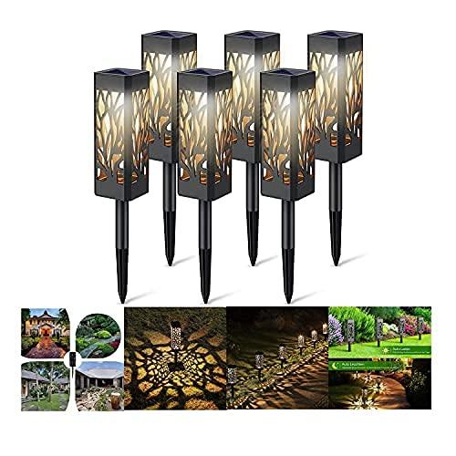 Zonne-lampen Voor Buitentuin, Tuinpadverlichting Zonne-verlichting Voor Buiten, 6 Stuks Upgrade Zonne-tuinverlichting Met Warm LED-licht, Automatisch Aan/Uit Tuindecoratie Zonne-verlichting