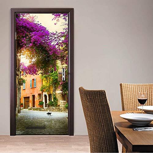 Türtapete Selbstklebend Türposter 3D Gartenhaus Untergrund Bewirken Fototapete Türfolie Poster Tapete Abnehmbar Wandtapete Für Wohnzimmer Küche Schlafzimmer 88X200Cm