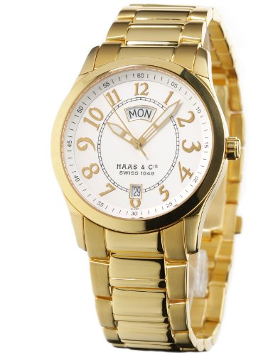 Haas & Cie Herren-Armbanduhr Silas Gold Analog Quarz ALH397JSA