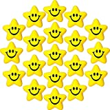 20 Pieces Star Smile Face Stress Balls Star Mini Foam Smile Ball Smile Face Toys Mini Stress Relief Star Smile Balls for School Carnival Reward, Student Prizes, Party Bag Fillers (Delicate Style)