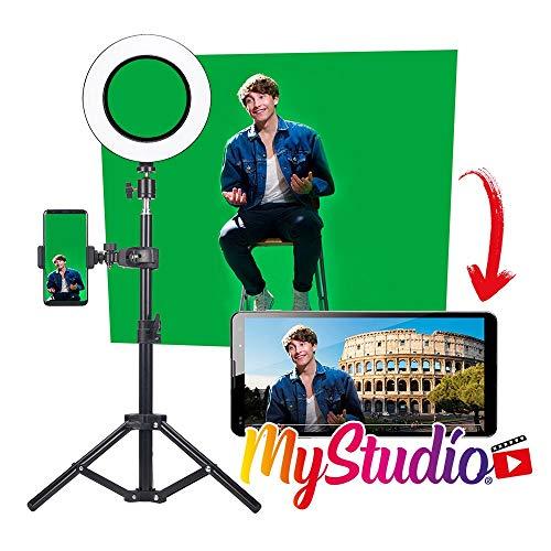 Easypix MyStudio Studio Kit, Stativ, 2x3 m Greenscreen, Videoleuchte, Mikrofon