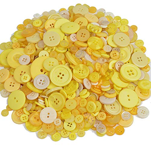 Assorted Sizes Resin Buttons 2 Holes and 4 Holes Round Craft Buttons for Sewing DIY Handmade Crafts Children's Manual Button Painting - 300g, Yellow