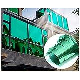 Pellicola Solare per finestre, Interni o Esterni, autoadesiva, 99% Anti UV, Protezione dal Calore, Protezione per la Privacy per finestre (Argento Verde, 40X400CM)