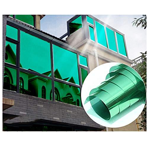 Sonnenschutzfolie Fenster Innen oder Außen Spiegelfolie Selbstklebend | 99% Anti-UV Fensterfolie Sonnenschutz Hitzeschutz | Sichtschutzfolie Fenster (Grün Silber, 90 x 200 cm)