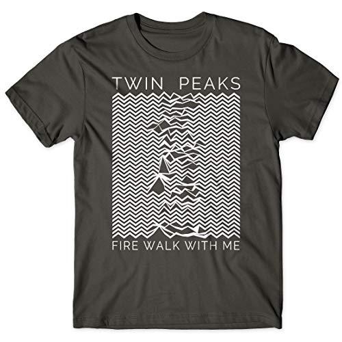 LaMAGLIERIA Herren-T-Shirt Twin Peaks Unknown Pleasure White Logo - 100% Baumwolle 90's tv Show t-Shirt, L, Dunkelgrau