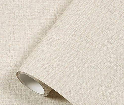 Yancorp Faux Grasscloth Peel Stick Wallpaper Fabric Self-Adhesive Contact Paper Linen Removable Fireaplace Kitchen Backsplash Wall Door Counter Top Liners (15.7' x 120', Cream)