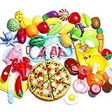 LIVEHITOP 56 Piezas Juego de Comida, Pretender Verduras y Frutas de para Cortar Alimentos ...