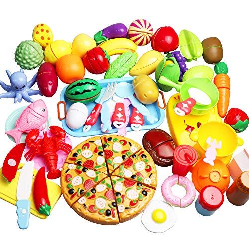LIVEHITOP Küchenspielzeug, 56 Stück Schneiden von Obst und Gemüse Rollenspiel Küchen-Kits Frühe Lernspielzeug Geschenk für Kleinkinder Jungen Mädchen Kinder