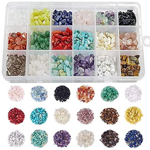 Kit Cuentas Colgantes , DIY Chips Irregulares Colores, Kit bisuteria, Cuentas de Piedras Preciosas Irregulares, para Manualidades de Bricolaje Pulseras Pendientes Collares