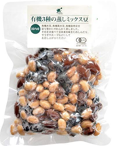ビオマーケット ビオマルシェ 国内産 有機 3種の蒸しミックス豆 120g