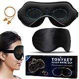 TONYKEY 2 Pack Eye Mask for Sleeping - 3D Contoured Cup Sleeping Mask & Natural Silk Sleep Mask for Women Men (One Adjust Strap) - Black with Earplug