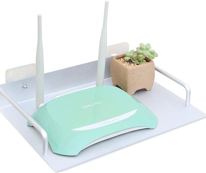Set Top Box Shelf Floating Rack Router Wall-Mounted WiFi Rack Shelf, White