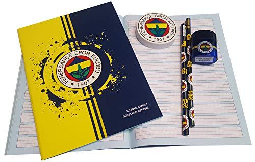 Fenerbahce Istanbul schoolset - kinderen - schrijfboek - gum - puntenslijper - 2X potlood FB-1