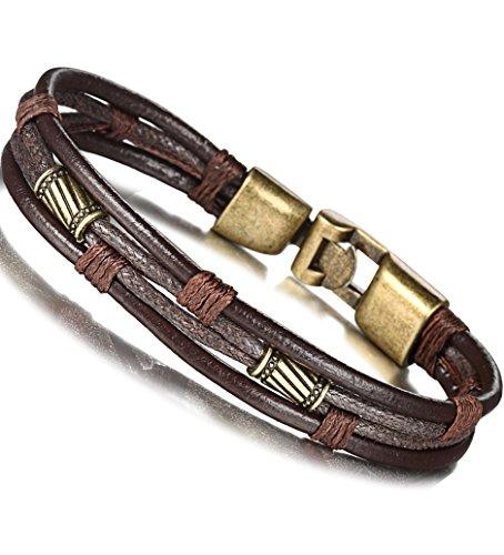 FIBO STEEL Leather Bracelet for Men Braided Wrist Cuff Vintage, 2 Pcs a Set 8.5inches