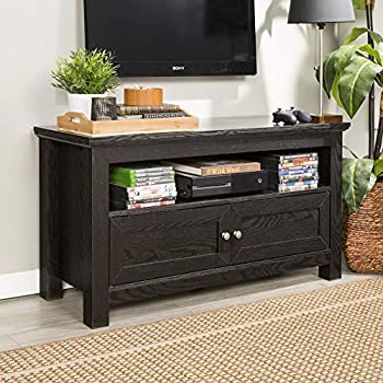 Walker Edison Simple Rustic Wood Stand for TV s up to 48  Living Room Storage 44 Inch Black