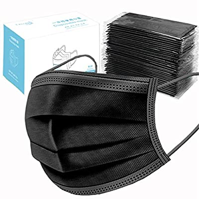 50 Pcs Disposable_Face_Masks with Elastic Earloop 3-ply Black Face Mouth Hygiene Protection Pads, High Filtration and Ventilation Security