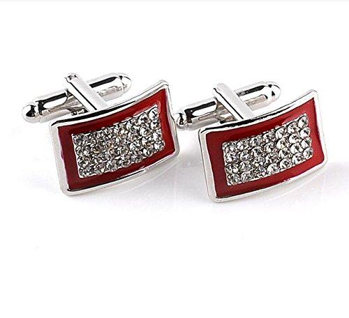 Qinlee - Bottoni per colletto, in cristallo, stile geometrico, gemelli, alla moda, regalo per uomo, per matrimonio, business, occasioni, banchetti, preziosi accessori per vestiti, 1 paio Rot