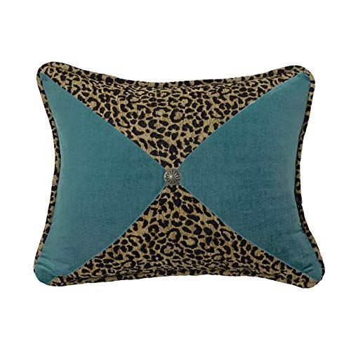 "HiEnd Accents San Angelo Leopard Chenille & Teal Velvet Pieced Throw Pillow, Brass Concho, 16"" x 21"", Leopard & Teal"