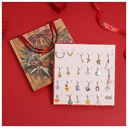 Lutyy Natale Calendario Dell'Avvento Confezione Regalo Ornamenti Regali per Ragazze Calendario Dell'Avvento Collana Dell'Avvento Orecchini Pendenti Orecchini Confezione Regalo per Ragazze Donne