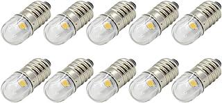 Ruiandsion 10 bombillas LED de 12 V E10 de 1 W, luz blanca cálida, reemplaza la antorcha de faros delanteros, mini focos de linterna, tierra negativa