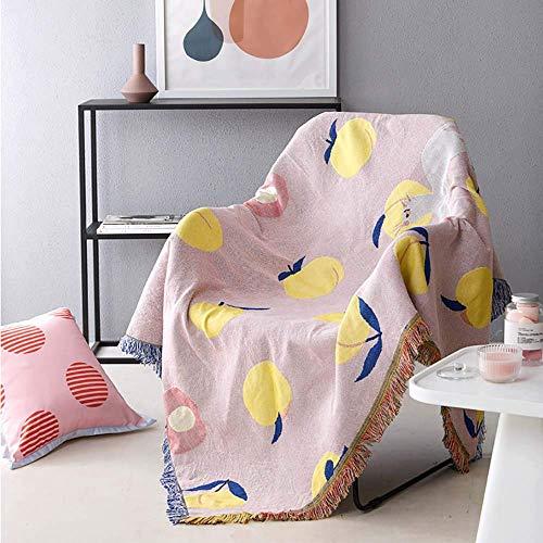 H-CAR Multifunktionsdecke aus gewebter Baumwolle mit Quasten Dekorative Sofabezug Tapisserie Teppich Bettbezug Sesselbezug, Pink, 160 * 220 cm