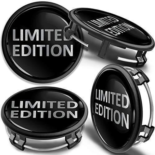 SkinoEu 4 x 75mm Tapas de Rueda de Centro Centrales Llantas Aluminio Compatibles con Tapacubos Mercedes Benz B66470207 / B66470200 Negro Plata Limited Edition CM 27