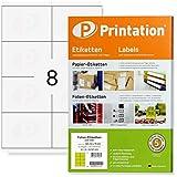 Etiquetas 105 x 70 mm, resistentes a la intemperie, color blanco en hoja DIN A4, 2 x 4 unidades por página, 80 etiquetas adhesivas de 105 x 70 mm, con impresora láser imprimibles