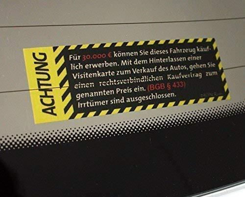 DBSPNCR AUTOVERKAUF Sticker INNEN & AUSSEN Kaufvertrag 30K 30.000 Autohändler Verkauf Aufkleber JDM - DUB DUBWAY (innenklebend)