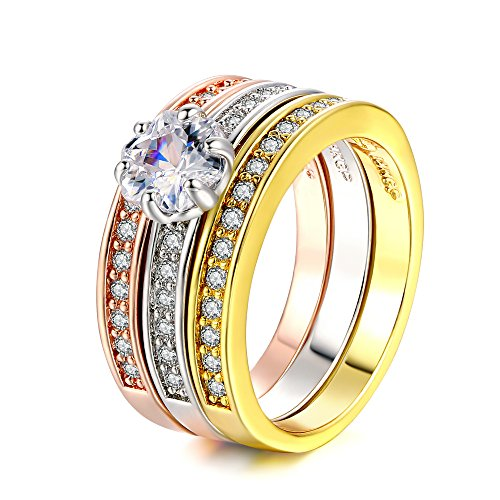 Double Fair 18k Rose Gold/Platinum/Yellow Gold Plated Clear CZ Simulated Diamond Solitare 3pcs Stackable Promise Eternity Rings Set (5.5)