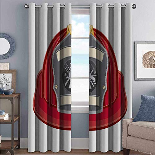 Annery Fireman High-Strength Blackout Curtains Traditional Firefighter Icon Fire Department Logo Public Servant Uniform for Bedroom Kindergarten Living Room W52 x L84 Inch Red Grey Beige