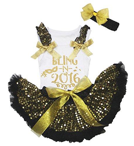 Nyårsklänning Bling in 2016 vit bomull skjorta guld paljett baby kjol set 3-12 m