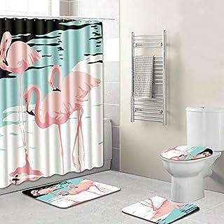 Flamingo bathroom set shower curtain - bathroom carpet set bathroom soft bathroom mat