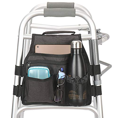 Side Walker Bag with Cup Holder, Folding Walkers Side Accessaries Organizer Pouch Tote for Seniors, Elderly (Black)