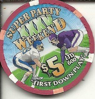 $5 riviera super party weekend 2 minute warning 2001 las vegas nevada casino chip obsolete