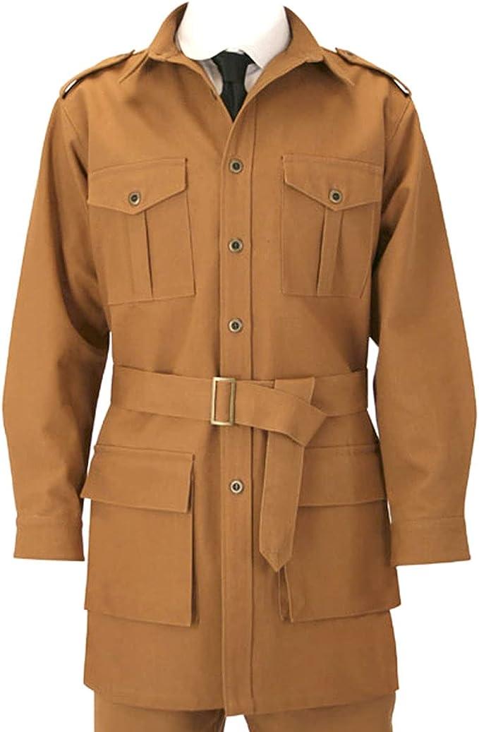 1900s Edwardian Men's Suits and Coats Historical Emporium Mens 100% Cotton Canvas Safari Bush Jacket  AT vintagedancer.com
