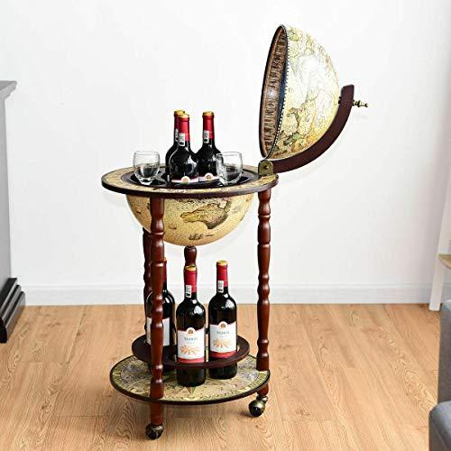 17' Wood Globe Wine Bar Stand Liquor Bottle Shelf Cart 16th Century Italian Rack