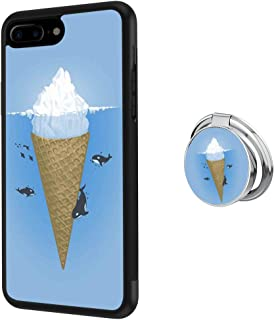 Hynina Phone Case and Phone Ring Buckle Compatible for iPhone 7 Plus 8 Plus - Iceberg Ice Cream and Orca