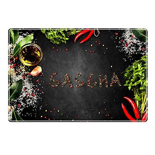 digital print Tischset mit Namen ''Sascha'' Motiv Pfeffer - Tischunterlage, Platzset, Platzdeckchen, Platzunterlage, Namenstischset