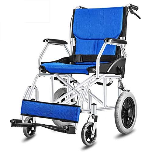 JKUNYU Silla de ruedas, sillas de ruedas for los ancianos plegable, ligero dispositivo móvil, silla de ruedas antideslizante agarre con dos manos de frenos, conveniente for discapacitados y ancianos,