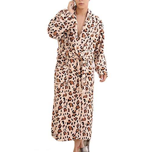 K-Flame Herren-Winter-warmes Bademantel Bademantel Stilvolle Leopard-Muster Nachtwäsche weiche Schal-Tuch-Bad-Wrap mit Gürteln Lounge Gym Ferien,Braun,L