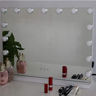 Vanity Mirror with Lights,Hollywood Lighted Makeup Mirror,Touch Control Adjustable Brightness Led Bulbs Tabletop Dressing Cosmetic Beauty Mirror(White)