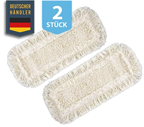 Zwei Stück Wischmopbezug Ersatzbezug Set Baumwolle für 40 cm Wischmop Klapphalter MADE IN GERMANY, Bodenwischer Mop für Bodenbeläge wie Laminat Echtholzböden Dielen Putzlappen, Parkett Schrubber